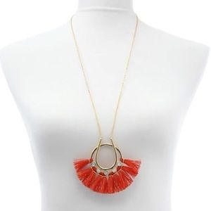 rebecca minkoff // red tassel and stone necklace